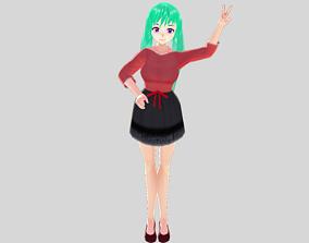 ASIAN GIRL DANCER 3D MODEL ANIME CHARACTER T-POSE rigged 1