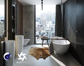 3D model Bathroom Interior Scene for Cinema 4D and Octane