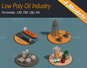 Low Poly Oil Industry 3D model