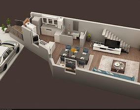 3d floor plan of ground floor