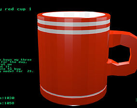 Low poly red cup 1 3D model