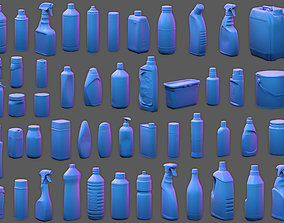 3D model 50 Plastic and Glass Containers