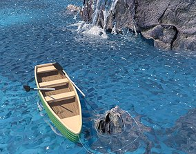 3D model Boat with Waterfall