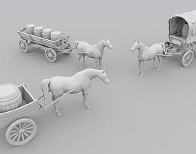 3D print model Medieval horses