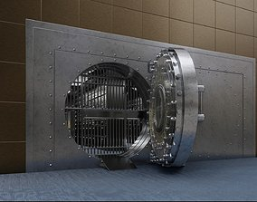 3D Bank safe room with gold and bank cells