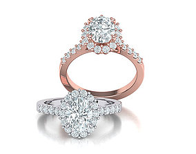 Halo Engagement ring with 1ct Oval Stone