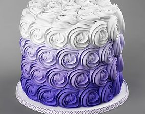Cake 28 with waves flowers 3D model