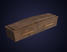 Wooden Coffin 3D model low-poly