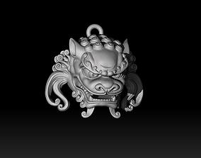 3D printable model Chinese guardian lion head pendant