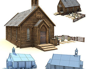 Low Poly Wild West Church 3D model