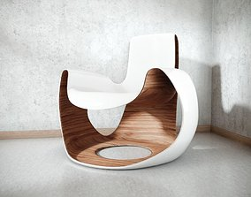 White Wooden Curved Chair 3D PBR