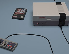 Nintendo Entertainment System and its controler 3D model
