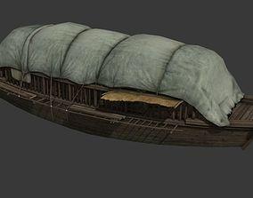 ancient asian wooden boat 3D model