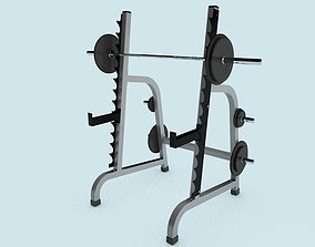 Multi-press rack with barbell 3D asset realtime