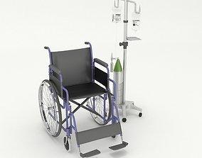 3D wheel chair iv stand