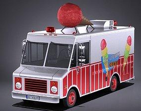 3D Ice Cream Truck with interior