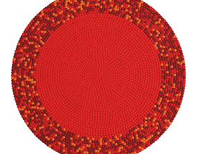 Round carpet of colored balls 3D model