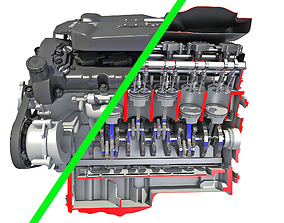Full and Cutaway V12 Engine 3D model