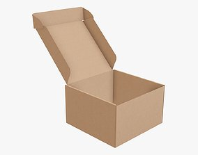 3D model Corrugated cardboard box packaging 09