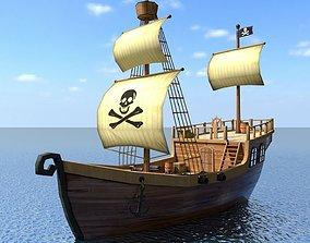 3D model recreational Low Poly Cartoon Pirate Ship Textured
