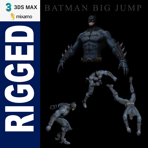 Batman Big Jump 3dsmax mixamo Rigged Low-poly 3D model