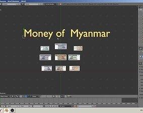low-poly Paper - money models of Myanmar