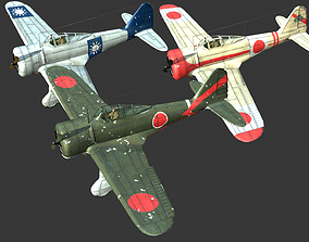 3D asset Ki27 fighter of Japanese in World War II Type 97