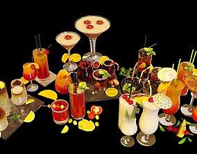 10 Cocktails Liquid - Glass Sets 3D model