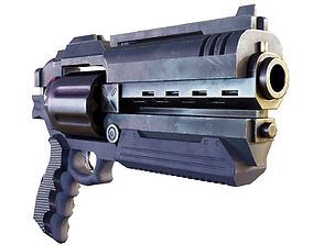 3D asset Stylized robust handgun