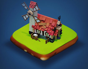 low-poly Mill - RPG Medieval Low-poly 3D model