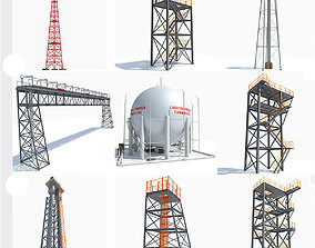 3D model 10 Industrial Towers