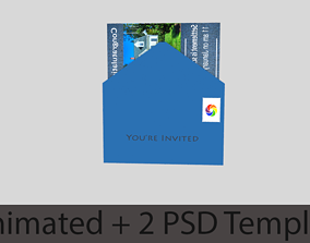 3D model Envelope Brochure Animated Template