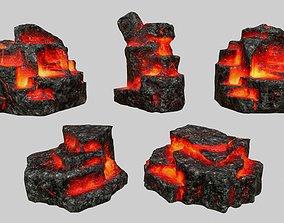 Rock Set 3D asset game-ready rocks