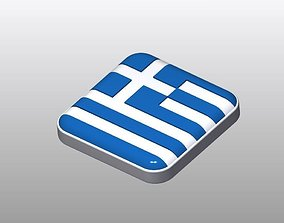 Cool Button Shaped Greece Flag 3D model