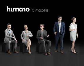 Humano 5-Pack - OFFICE - WORKING PEOPLE - 5x 3D models