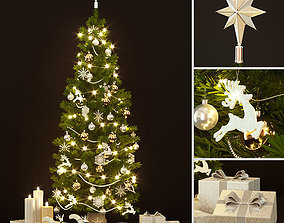 3D Christmas tree snowflake