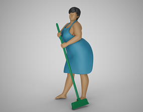 3D printable model Woman Cleaning Home