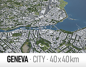 Geneva - city and surroundings 3D asset