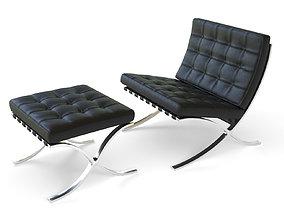 3D model low-poly Barcelona Chair legend