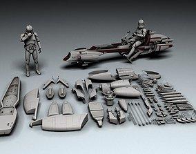3D printable model Star Wars BARC Speeder