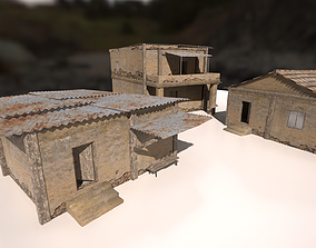Ruined buildings low poly 3D asset