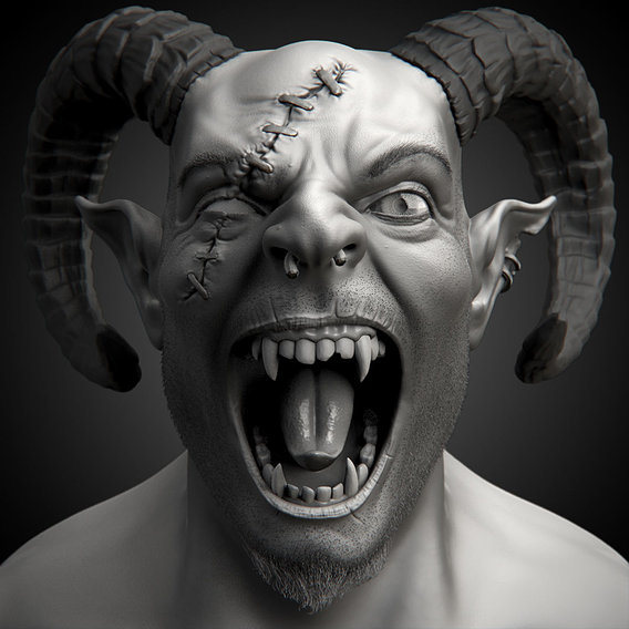 Demon Head Sculpt