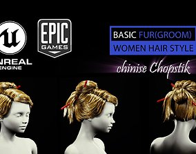 chinise Chopstik HairStyle Groom For UE4 3D asset