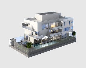 home 3D Model Luxury Contemporary House with Pool