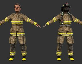 3D model Firefighter Character Fireman Game Ready