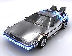 DeLorean Time Machine 3D model rigged