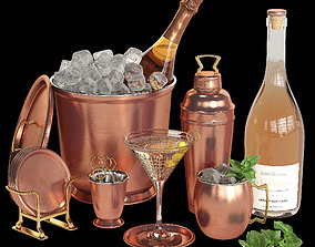 3D model Potterybarn copper cocktail set