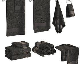 3D model Black Towels Set