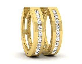 3D print model Diamond Huggies Hoop Earrings for 1