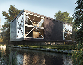 Realistic Exterior Lake House In The 3D model